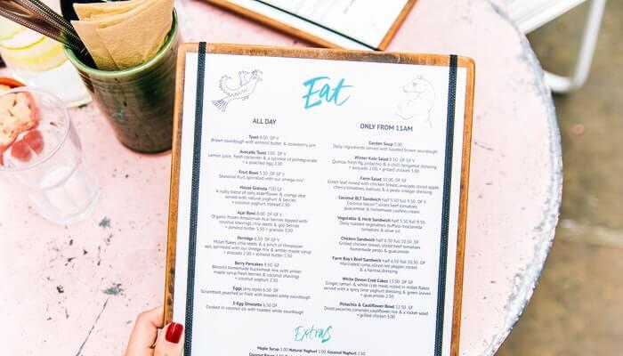 Cardápio de restaurante representa o menu personalizável