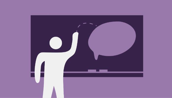 Ilustração de pessoa em frente a balão de diálogo representa o Olark