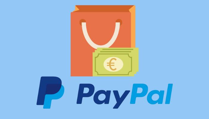 Ilustração de sacola e de cédulas com logo do PayPal abaixo