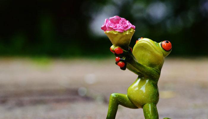 Estátua de sapo oferecendo flores representa técnicas de persuasão