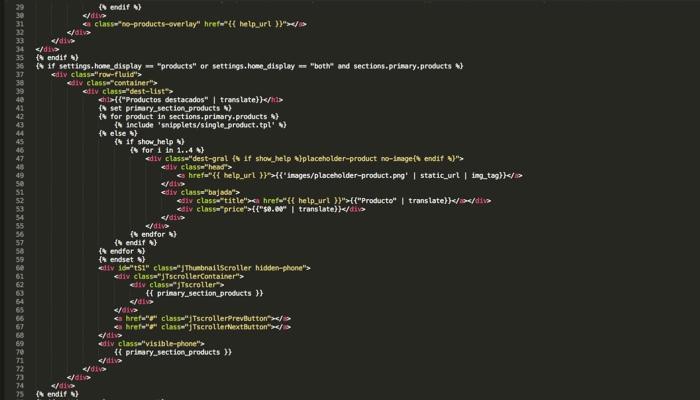 Página de códigos de PHP feitas com Twig