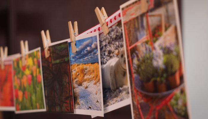 Fotos coloridas penduradas no varal representam as Twitter Cards