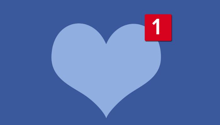 Ilustração de coração azul com número 1 de notificação representa como vender no Facebook